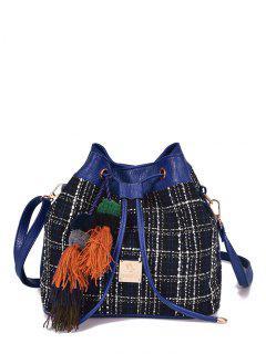 Tweed Drawstring Plaid Pattern Crossbody Bag - Deep Blue