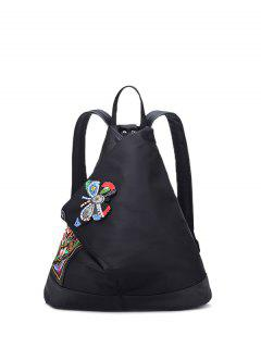 Embroidery Flower Butterfly Pattern Backpack - Black