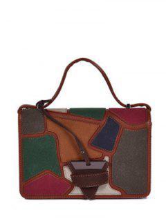 Colour Splicing Patchwork Square Shape Crossbody Bag - Brown