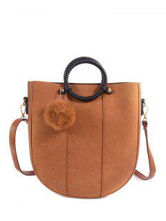 Pompon Metal PU Leather Tote Bag - Light Brown