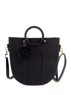 Pompon Metal PU Leather Tote Bag - Black