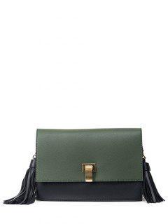 Chain Tassels Metal Crossbody Bag - Army Green