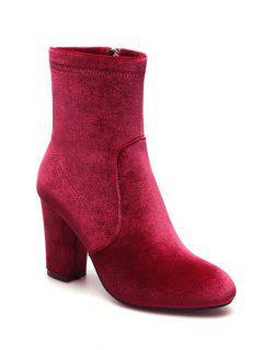 Chunky Heel Velvet Sock Boots - Red 38