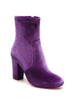 Chunky Heel Velvet Sock Boots - Purple 38