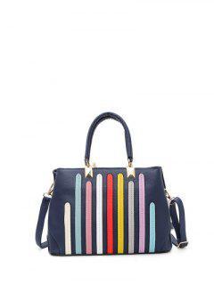 Striped Pattern Metal Colour Spliced Tote Bag - Deep Blue