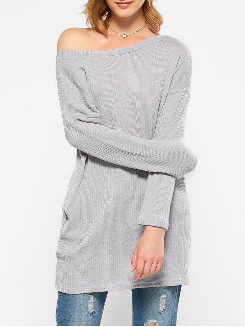 lady Skew Neck Long Sleeve Jumper - GRAY M Mobile
