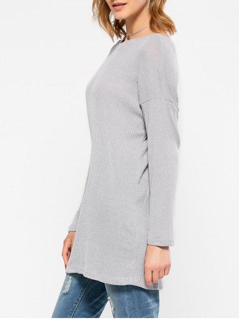 lady Skew Neck Long Sleeve Jumper - GRAY M Mobile