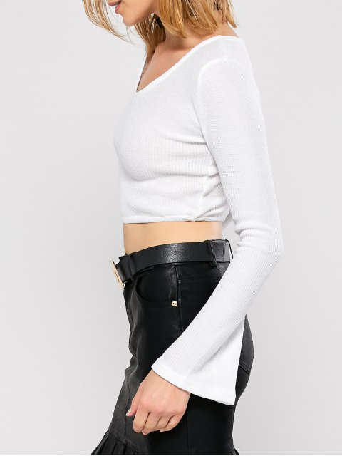 fancy Bell Sleeve V Neck Cropped Sweater - WHITE M Mobile
