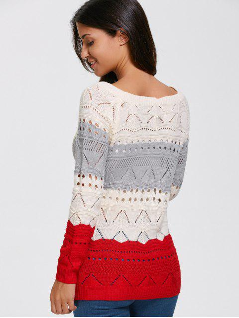 trendy Pullover Hollow Out Color Block Sweater - PALOMINO L Mobile