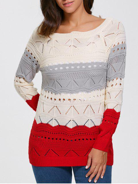 fashion Pullover Hollow Out Color Block Sweater - PALOMINO M Mobile