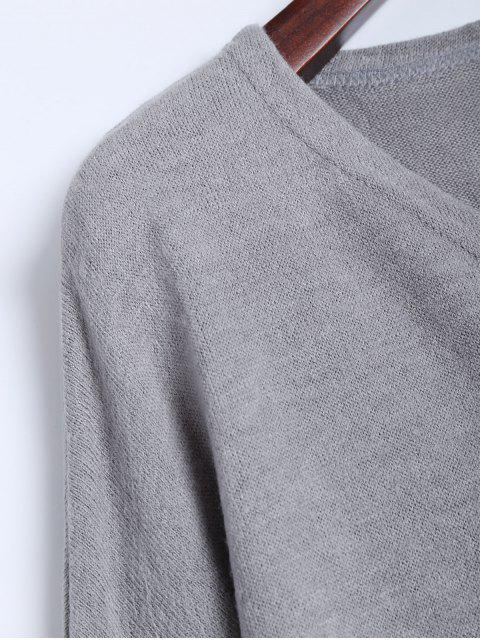 new V Neck Batwing Sleeve Sweater - GRAY M Mobile