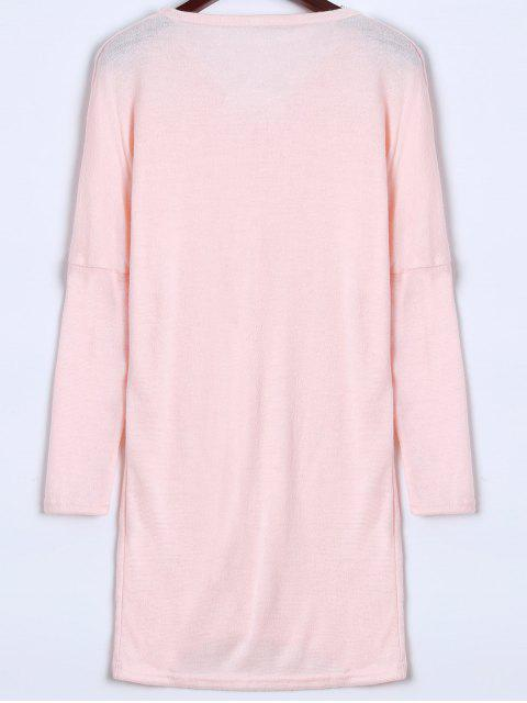 shop V Neck Batwing Sleeve Sweater - PINK M Mobile