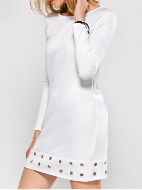 lady Long Sleeve Jewel Neck Hollow Out Dress - WHITE L Mobile