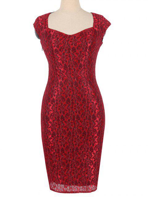 Robe moulante florale à fermeture éclair cachée - Rouge 3XL Mobile