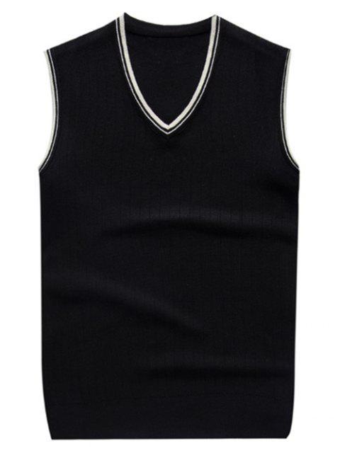 gilet tricoté à col V en deux couleurs contrastes - Noir 2XL Mobile