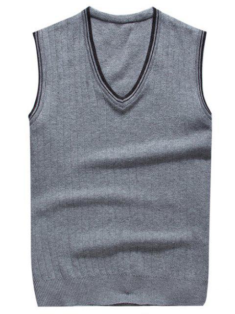 gilet tricoté à col V en deux couleurs contrastes - Gris Clair L Mobile