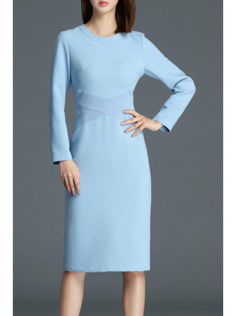 hot Patchwork Knee Length Sheath Dress - BLUE L Mobile