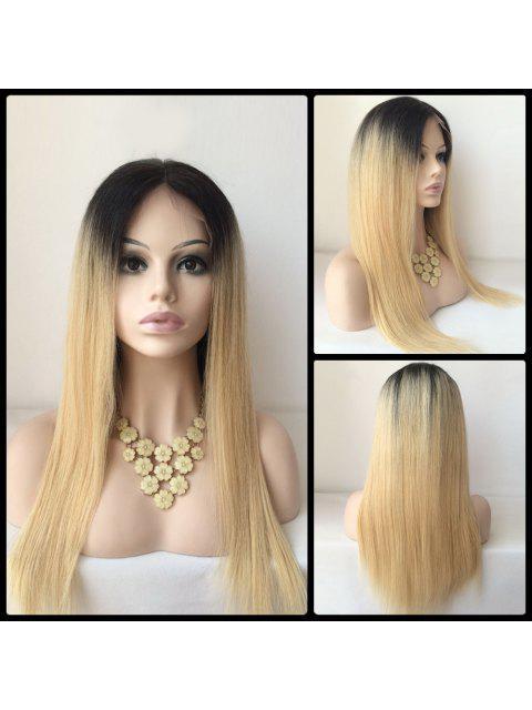 Frente del cordón de la parte media peluca de pelo largo recta Humano - Colores Mezclados  Mobile
