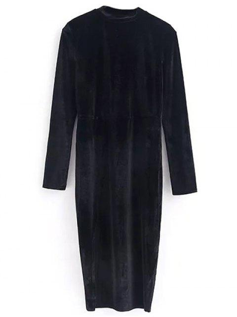 ladies Vintage Velvet Slit Dress - BLACK S Mobile