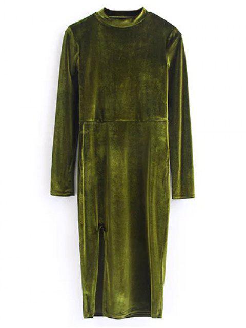 online Vintage Velvet Slit Dress - OLIVE GREEN M Mobile