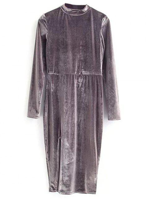 hot Vintage Velvet Slit Dress - GRAY M Mobile