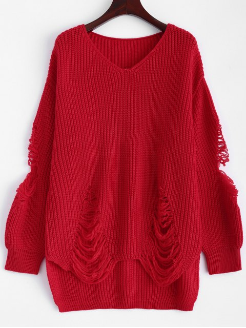 chic Loose Pullover Distressed  Sweater - RED L Mobile