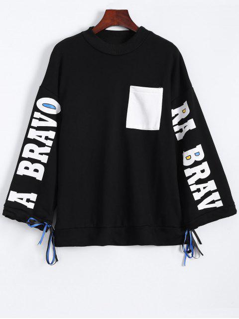 affordable Side Slit Graphic Sweatshirt - BLACK ONE SIZE Mobile
