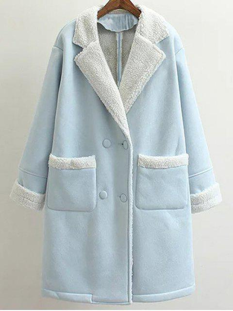 outfits Lapel Faux Shearling Pea Coat - LIGHT BLUE L Mobile