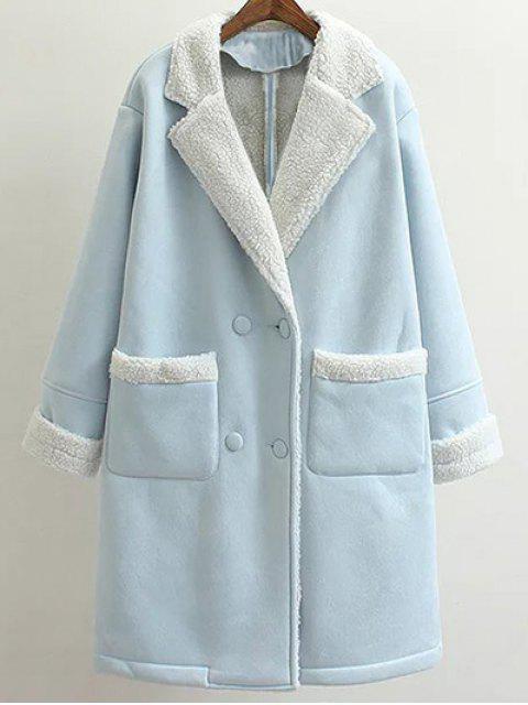 shop Lapel Faux Shearling Pea Coat - LIGHT BLUE M Mobile