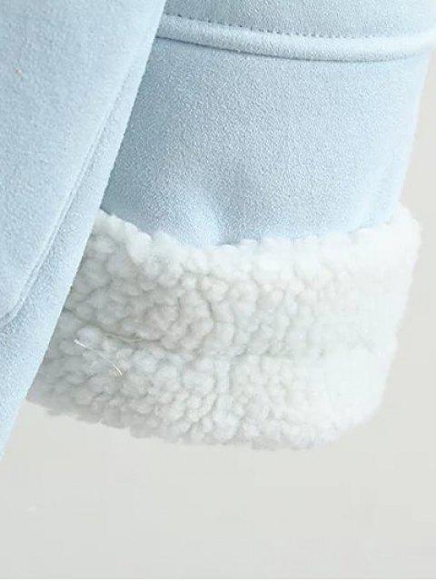 trendy Lapel Faux Shearling Pea Coat - BROWN M Mobile