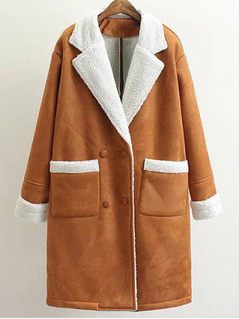 trendy Lapel Faux Shearling Pea Coat - BROWN M Mobile