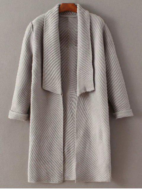 lady Shawl Open Front Cardigan - GRAY ONE SIZE Mobile