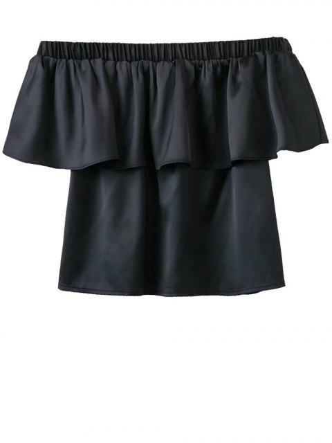 buy Off The Shoulder Flouncing Blouse - BLACK L Mobile