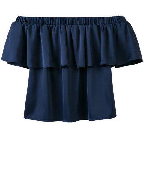 women Off The Shoulder Flouncing Blouse - DEEP BLUE M Mobile