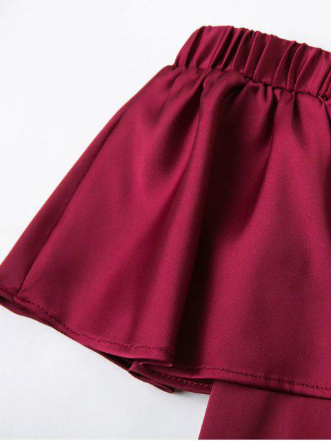 lady Off The Shoulder Flouncing Blouse - WINE RED M Mobile