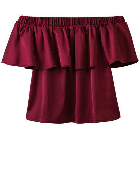 ladies Off The Shoulder Flouncing Blouse - WINE RED L Mobile