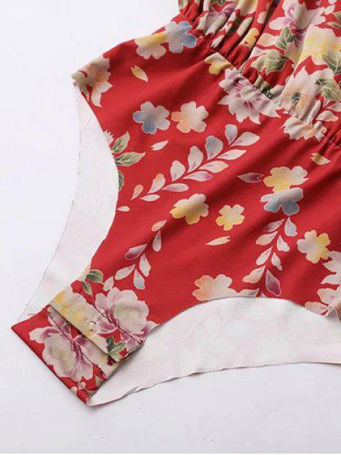 shops Ethnic Style Floral Bodysuit - RED L Mobile