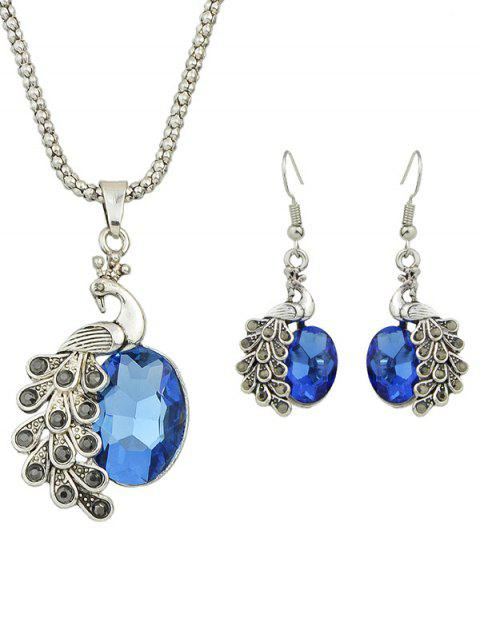 fancy Faux Gem Peacock Necklace and Earrings - BLUE  Mobile