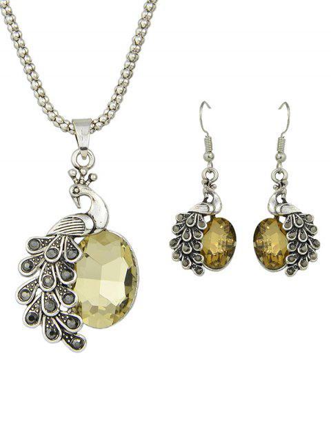 unique Faux Gem Peacock Necklace and Earrings -   Mobile