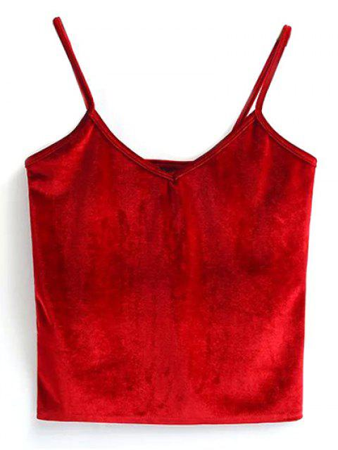 women's Velvet Cropped Tank Top - RED ONE SIZE Mobile