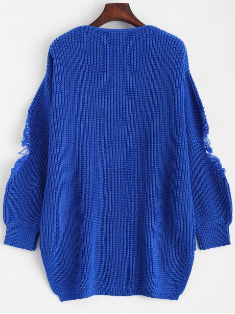 womens Loose Pullover Distressed  Sweater - BLUE 2XL Mobile