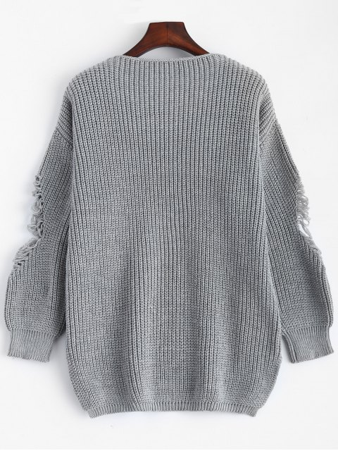 unique Loose Pullover Distressed  Sweater - DEEP GRAY 2XL Mobile