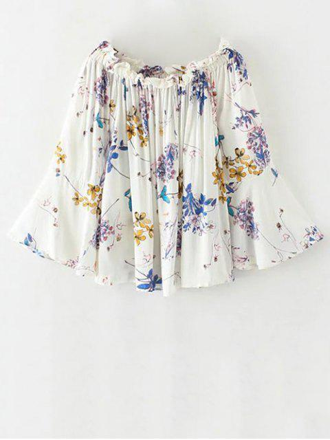 ladies Off The Shoulder Flare Sleeve Floral Blouse - WHITE L Mobile