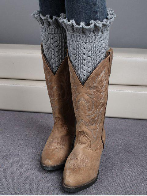 unique Ruffled Knit Boot Cuffs -   Mobile