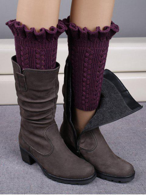 women Ruffled Knit Boot Cuffs -   Mobile