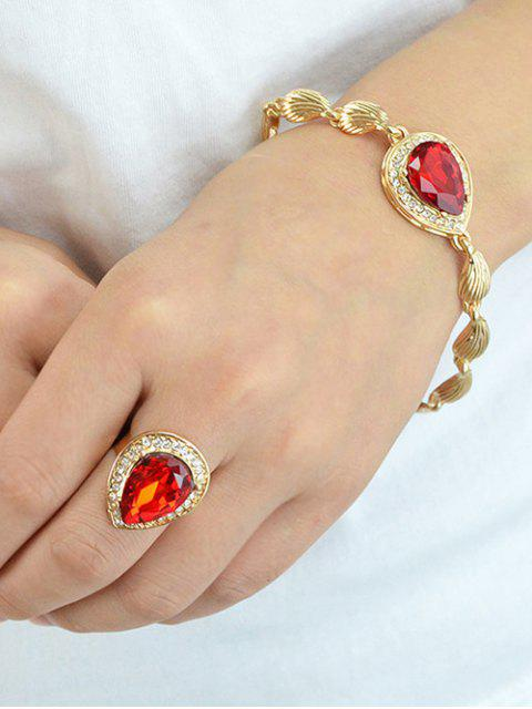 buy Faux Ruby Necklace Earrings Bracelet and Ring -   Mobile