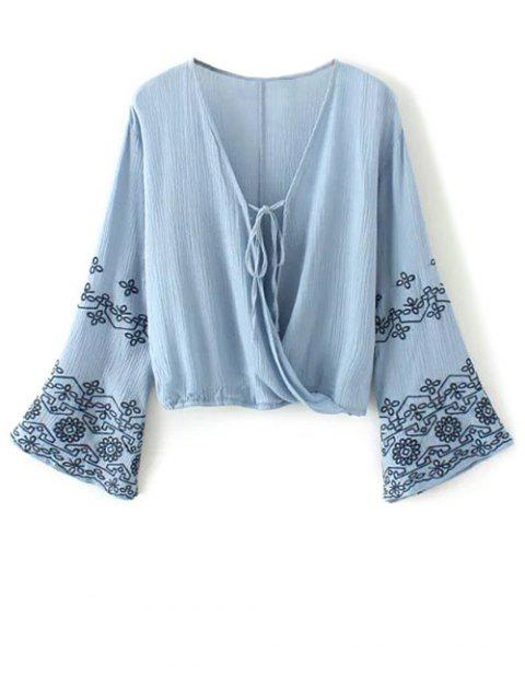latest String Flare Sleeve Embroidered Blouse - BLUE M Mobile