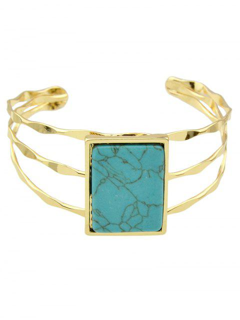 outfit Layered Natural Stone Geometric Cuff Bracelet - BLUE  Mobile