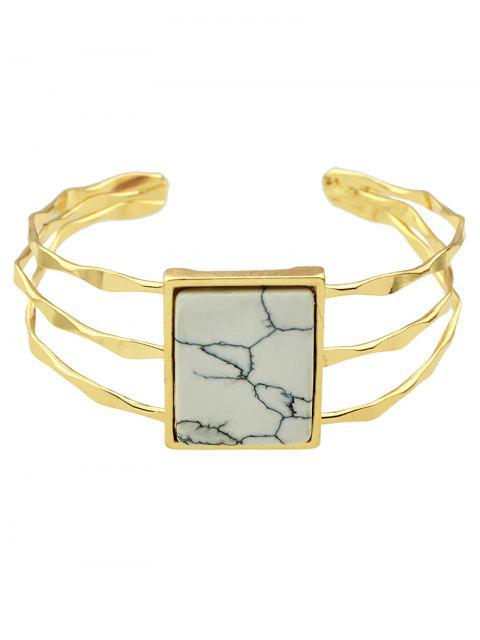 shop Layered Natural Stone Geometric Cuff Bracelet -   Mobile
