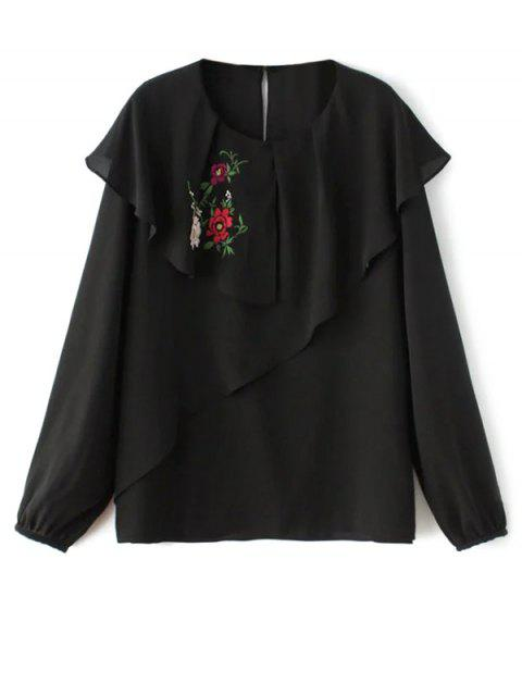 hot Layered Floral Chiffon Blouse - BLACK S Mobile